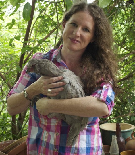 Here I am with one of our most loved Araucanas, 'Stella'.