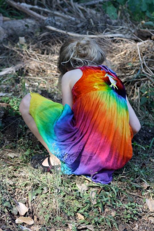 child exploring a garden