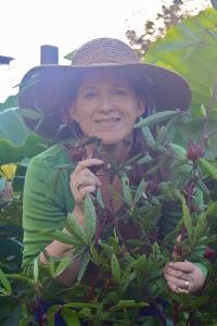 Claire with a Rosella bush