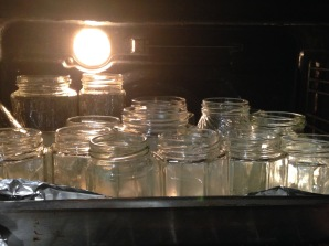 Sterilised jars in the oven to dry