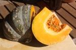 Pumpkin cut open showing seeds