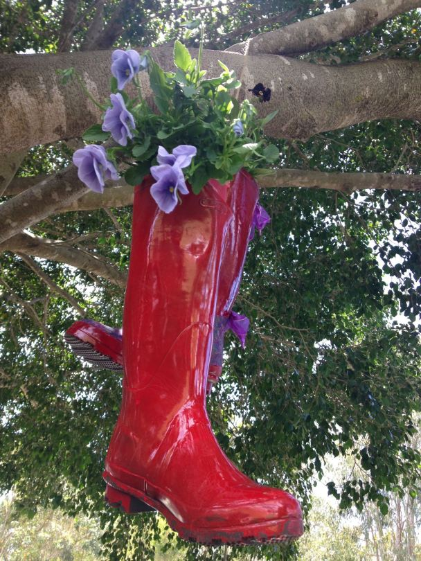wellington boots used as flower pots