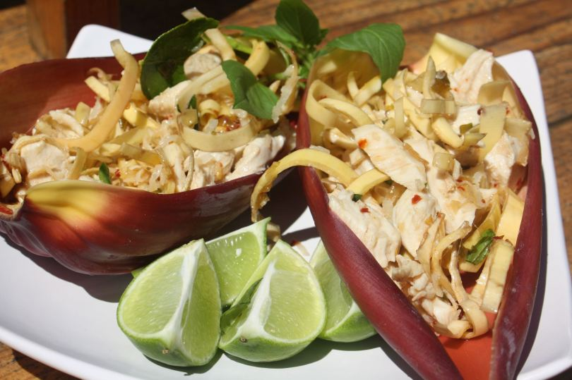 Coconut and Chicken Banana Flower warm salad ready to eat.